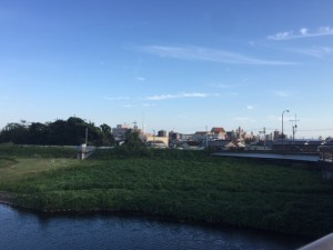 久保田橋から四日市市街地方面
