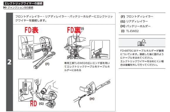 Di2ケーブルをFD・RDに挿し込む