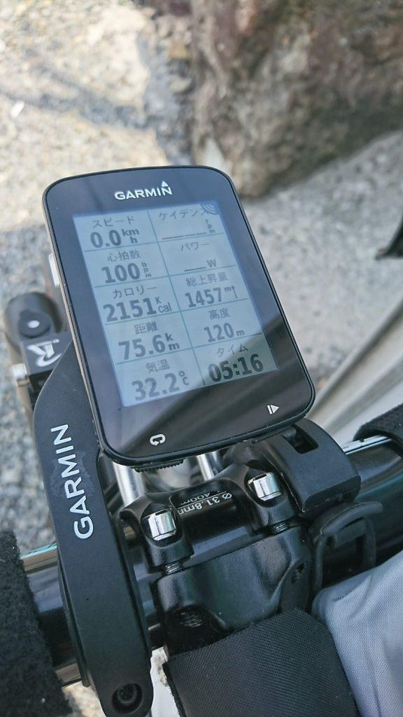 距離と獲得高度 Edge820J
