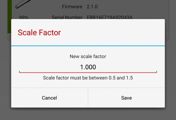 4iiii Power Meter App (Android)のスケールファクター(Scale Factor)の設定画面