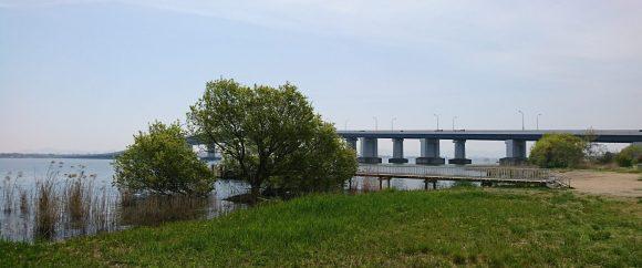 道の駅から望む琵琶湖大橋