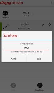 4iiii Precision パワーメーター セットアップ画面