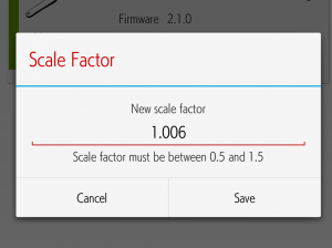 4iiii precision Scale Factor 設定画面